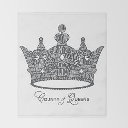 County of Queens | NYC Borough Crown (GREY) Throw Blanket