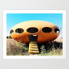 Futuro Spaceship House with Graffiti in Texas Art Print