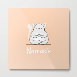 Namaste Yoga Cat Pastel Orange Metal Print