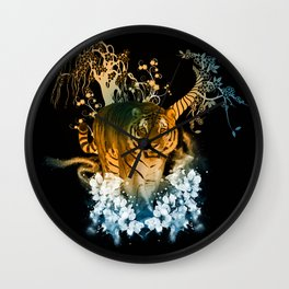 Beautiful tiger with flowers Wall Clock