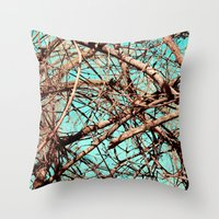 tangled Throw Pillows featuring Tangled by Slava Bowman