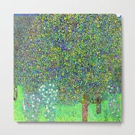 Gustav Klimt Rosebushes Under Trees Metal Print
