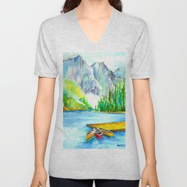 Lake Louise Watercolor Unisex V-Neck