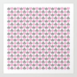 Playing Cards Pattern Pink Grey on White Art Print