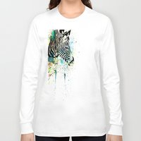zebra Long Sleeve T-shirts featuring Zebra by Del Vecchio Art by Aureo Del Vecchio