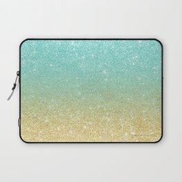 Modern robbin egg blue glitter ombre gold glitter Laptop Sleeve