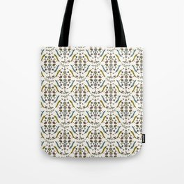 Cute Wild Garden Flowers and Birds Damask Tote Bag