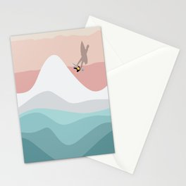 Lone Surfer   Pastel Beach Colors  Stationery Cards