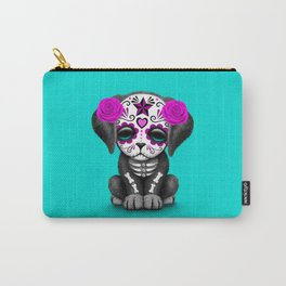 Cute Purple and Blue Day of the Dead Puppy Dog Carry-All Pouch