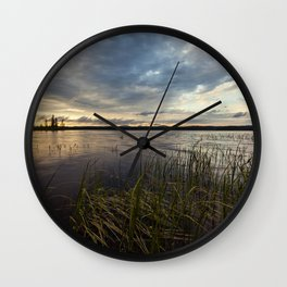 sunset on south bay Wall Clock