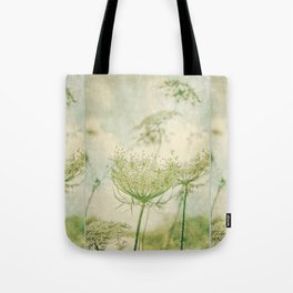 Sanctuary -- White Queen Anne's Lace Meadow Wild Flower Botanical Tote Bag