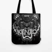 kenzo Tote Bags featuring black Tiger Kenzo by cvrcak