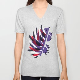 Colorful Abstract Hedgehog Unisex V-Neck