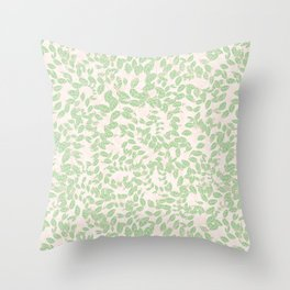 Green Nature Branches Leaves Throw Pillow
