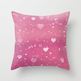 Pink Hearts Pattern Throw Pillow