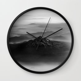 The West is Burning - Mt Shasta Black and White Wall Clock