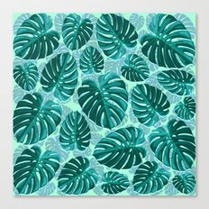 Tropical Leaf Monstera Pattern  Canvas Print