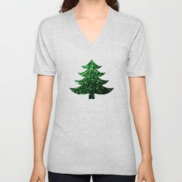 Sparkly Christmas tree green sparkles on red Unisex V-Neck
