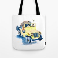 jeep Tote Bags featuring Animal Jeep by Claire Sianna
