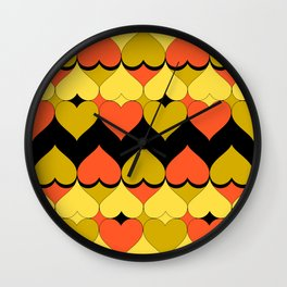 Multi Hearts Chartreuse Tangerine Black Wall Clock