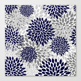 Abstract, Floral Prints, Navy Blue and Grey Canvas Print