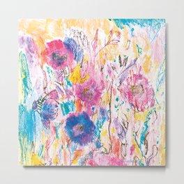 Meadow painting, floral pattern, flowers Metal Print