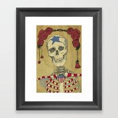 Skeleton and Roses Framed Art Print