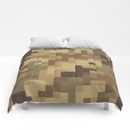 Army Camouflage Pixelated Pattern Brown Dirt Desert Comforters