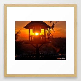 Birdbath  Sunrise Framed Art Print