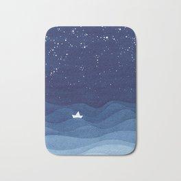 blue ocean waves, sailboat ocean stars Bath Mat