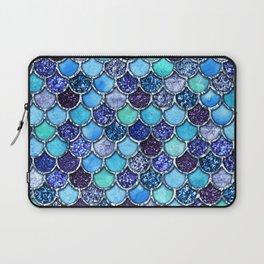 Colorful Teal & Blue Watercolor & Glitter Mermaid Scales Laptop Sleeve