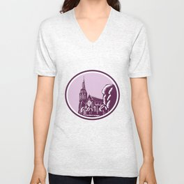 Christchurch Cathedral Woodcut Retro Unisex V-Neck