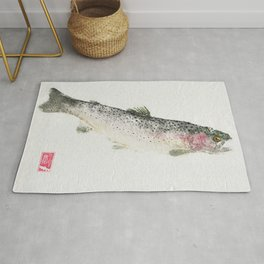 Rainbow Trout Dive - Gyotaku Rug
