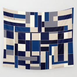 Blue abstract city Wall Tapestry