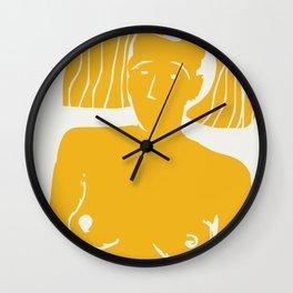 African woman in yellow Wall Clock