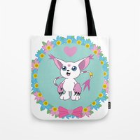 digimon Tote Bags featuring Girly Gatomon by hannahroset