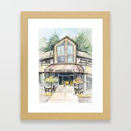 Coffee Shop Art Urban City Watercolor Framed Art Print