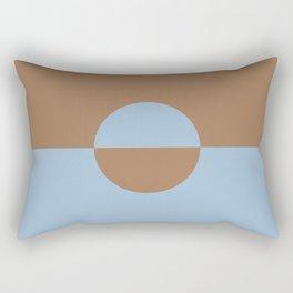 Pastel Blue Brown Minimal Circle Design 2 2021 Color of the Year Earth's Harmony Desert Varnish Rectangular Pillow