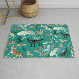 Wolves of the World Green pattern Rug