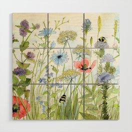 Floral Watercolor Botanical Cottage Garden Flowers Bees Nature Art Wood Wall Art