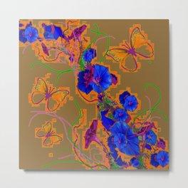 Modern Butterflies  Royal Blue Morning Glory Pattern Art Metal Print