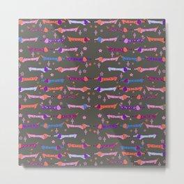 Dappled Dachshund Print in pink, purple, coral and blue Metal Print