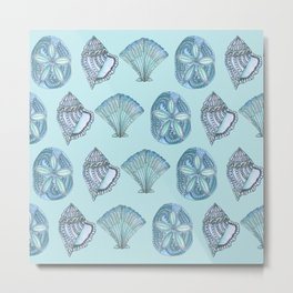 Watercolor Seashells Aqua Background  Metal Print
