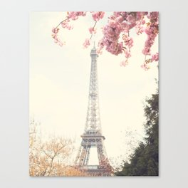 Paris at Spring, Eiffel tower and cherrie blossoms Canvas Print