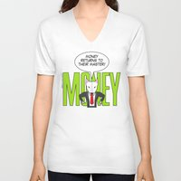 returns V-neck T-shirts featuring Money returns by English Bull Terrier Lover