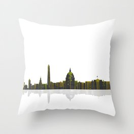 Washington DC Skyline BW 1 Throw Pillow