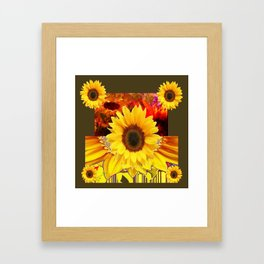 KHAKI COLOR MODERN YELLOW SUNFLOWERS ABSTRACT Framed Art Print