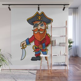 Pirate Cartoon Character Wall Mural