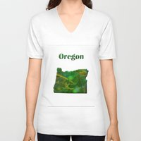 oregon V-neck T-shirts featuring Oregon Map by Roger Wedegis