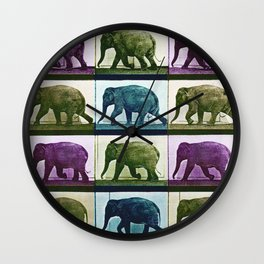Time Lapse Motion Study Elephant Color Wall Clock